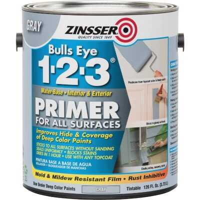 Zinsser Bulls Eye 1-2-3 Water-Base Interior/Exterior Stain Blocking Primer, Gray, 1 Gal.